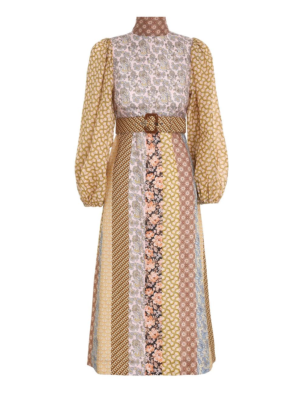 Linen Spliced Midi Dress