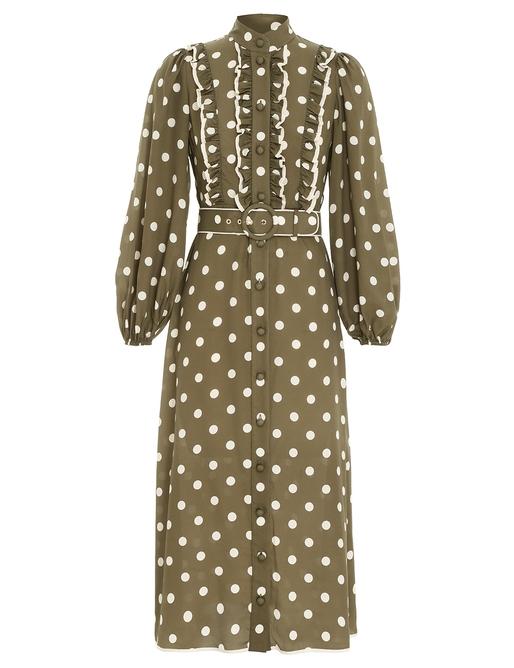 Spot Frill Midi Dress