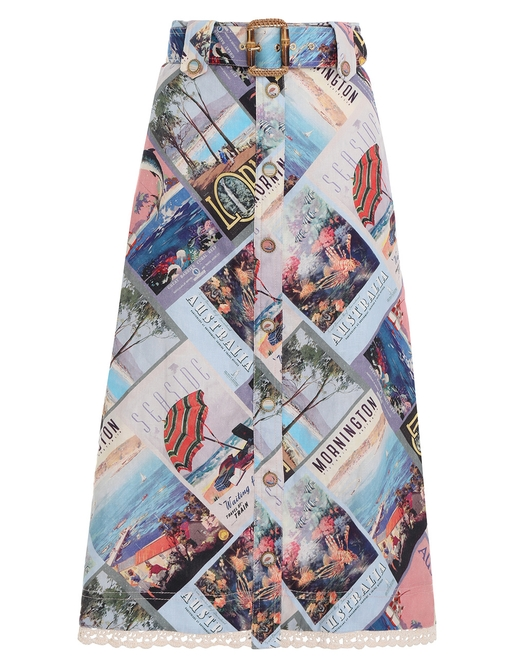 Postcard A-Line Midi Skirt