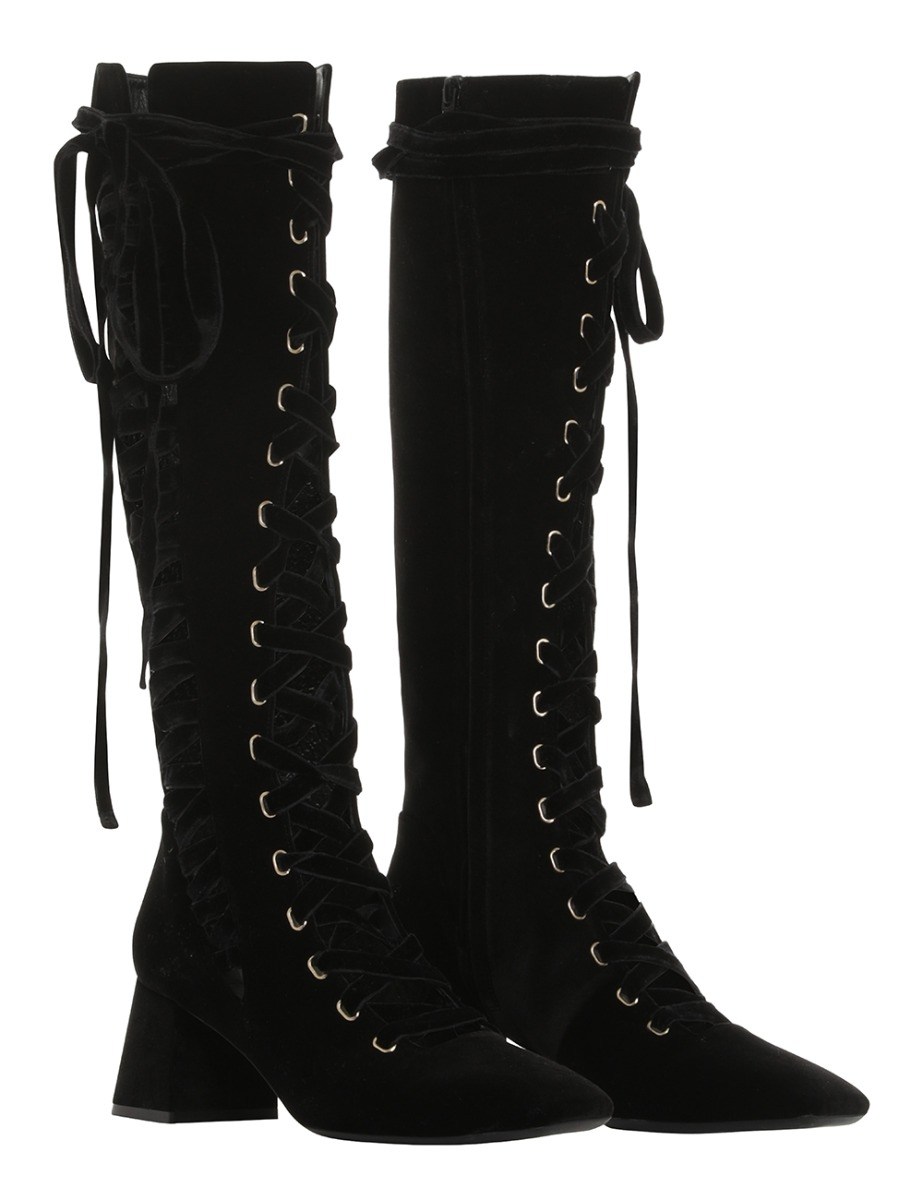 tall white lace up boots