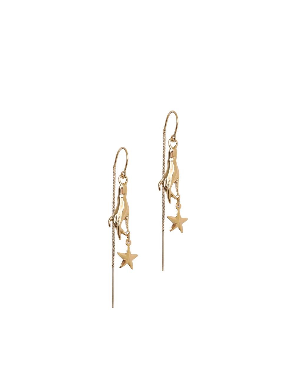 Hand & Star Drop Earrings