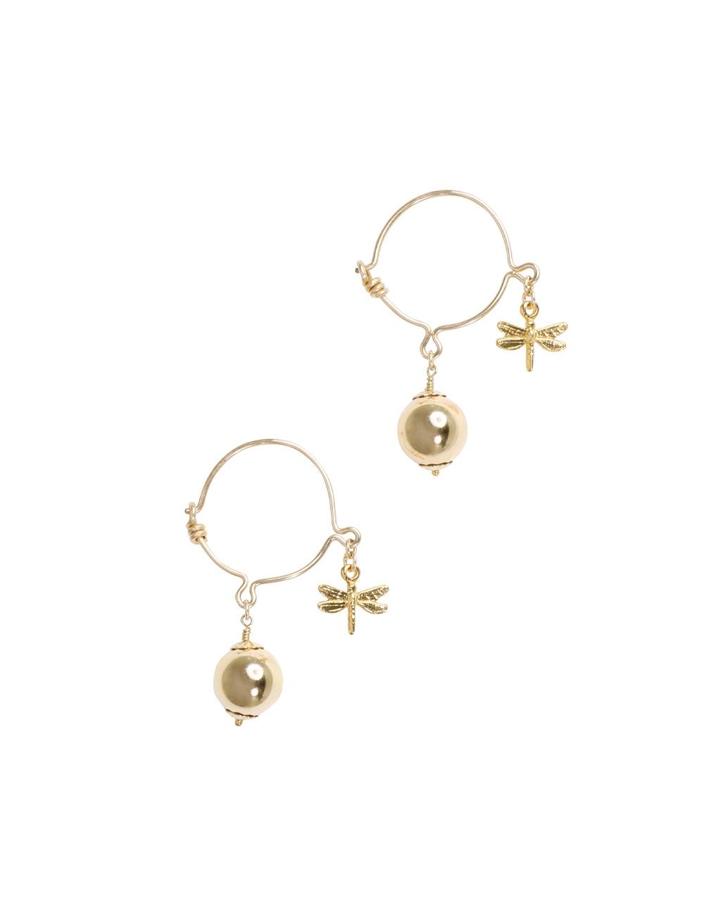 Ball & Dragonfly Hoop Earrings