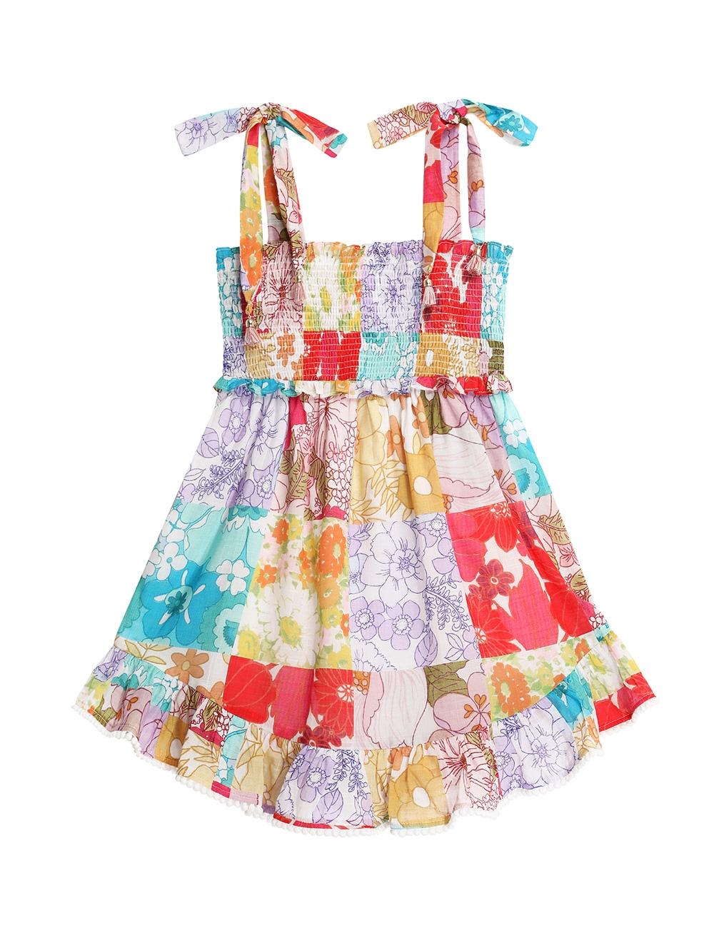 Bells Shirred Tie Dress