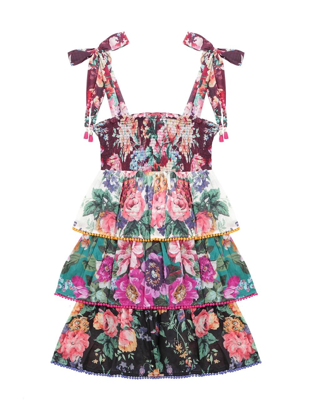 Allia Shirred Tiered Dress