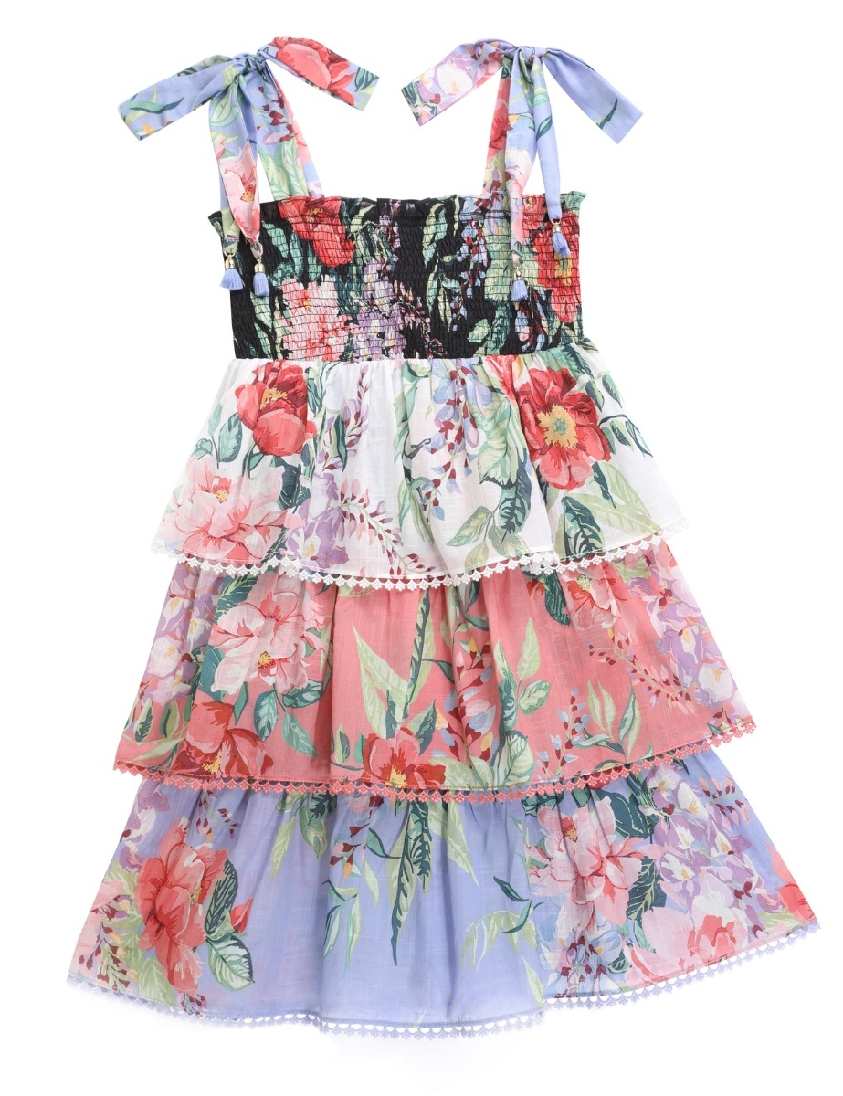 Bellitude Shirred Tiered Dress