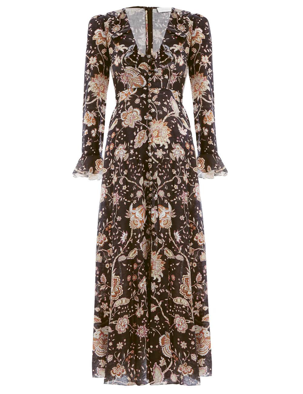 Veneto Plunge Frill Long Dress