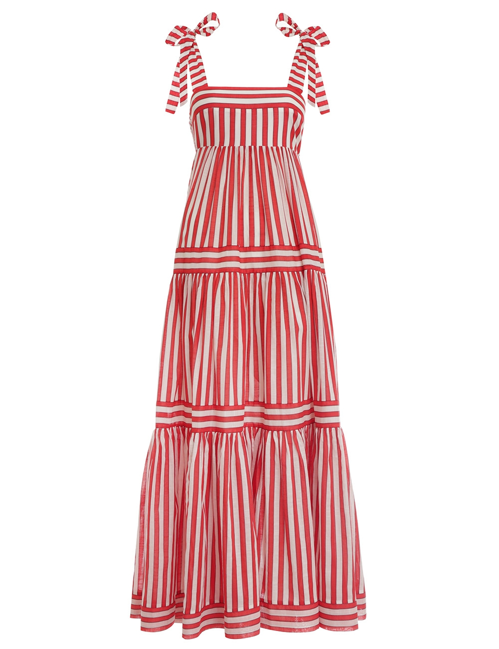 Zinnia Stripe Tie Tiered Dress