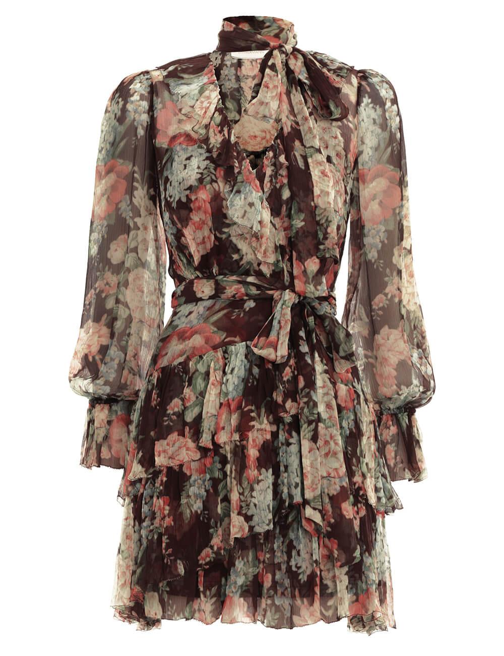 Espionage Ruffle Wrap Dress