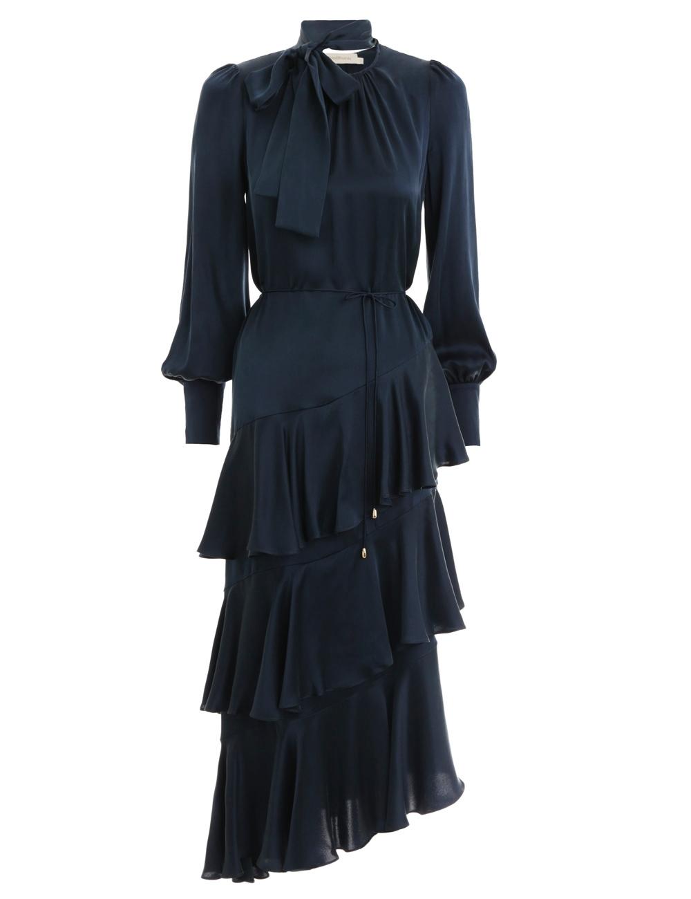 Espionage Silk Flounce Dress