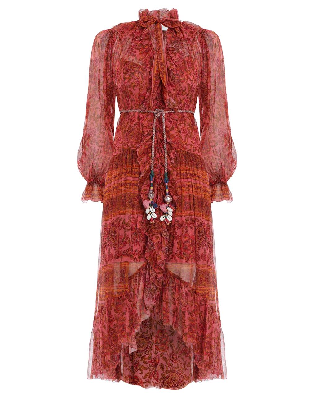 Edie Ruffle Long Robe Dress