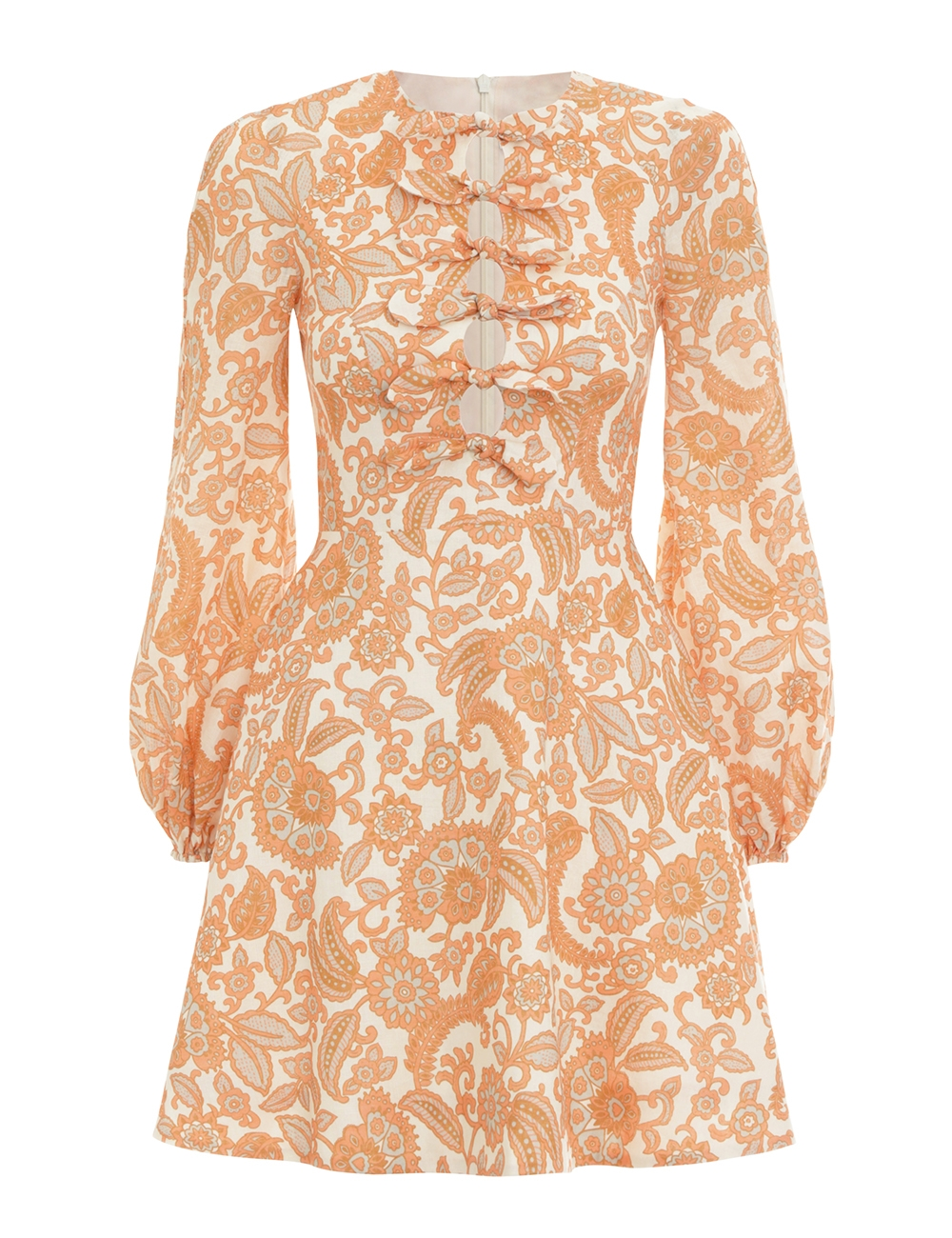 Peggy Scallop Short Dress Orange Paisley Online Zimmermann