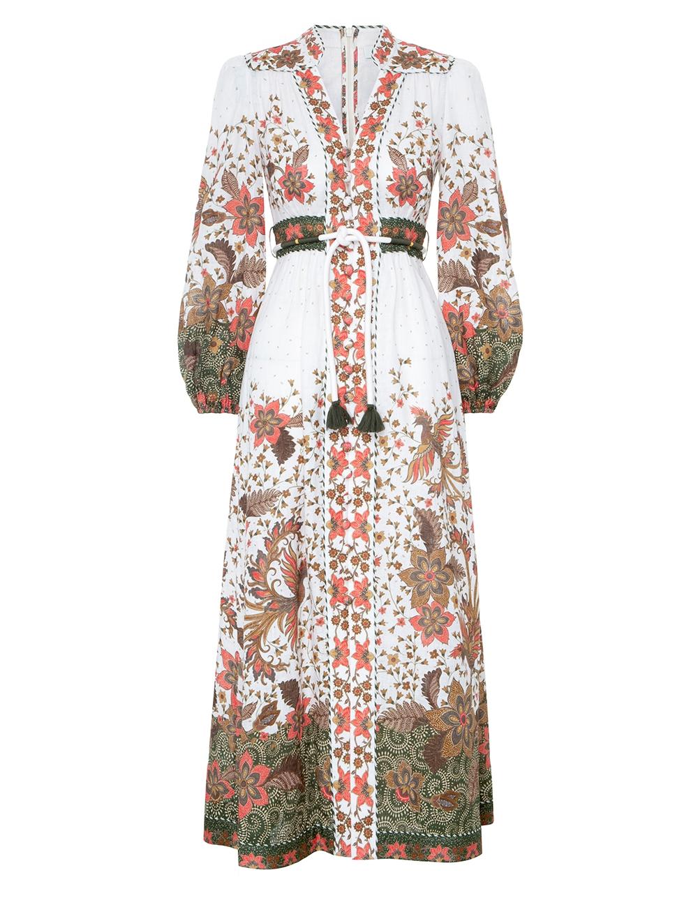 Empire Button Front Long Dress
