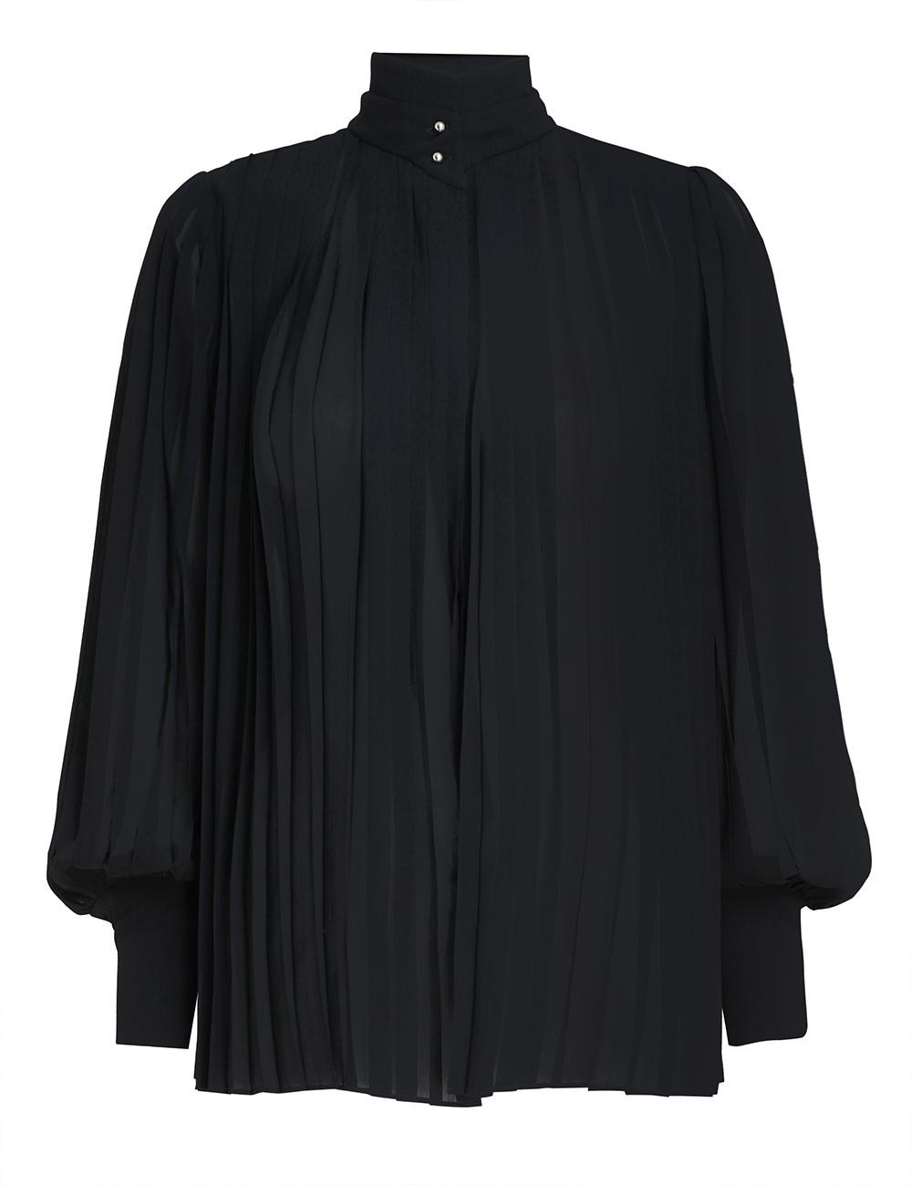 Pleated Long Sleeve Blouse
