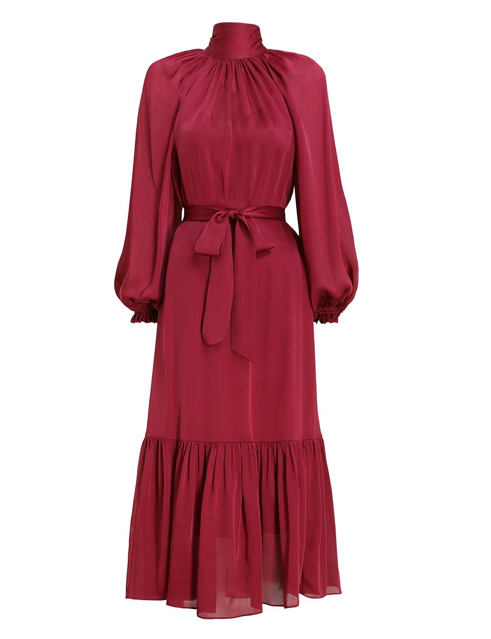 Gathered Bow Long Sleeve Dress
