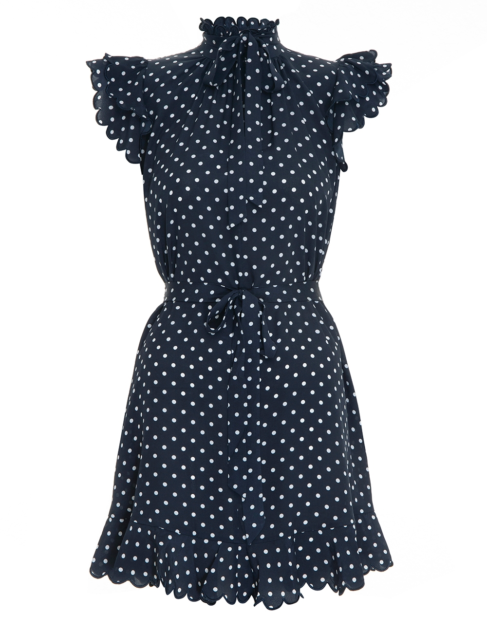 Silk Scallop Mini Dress