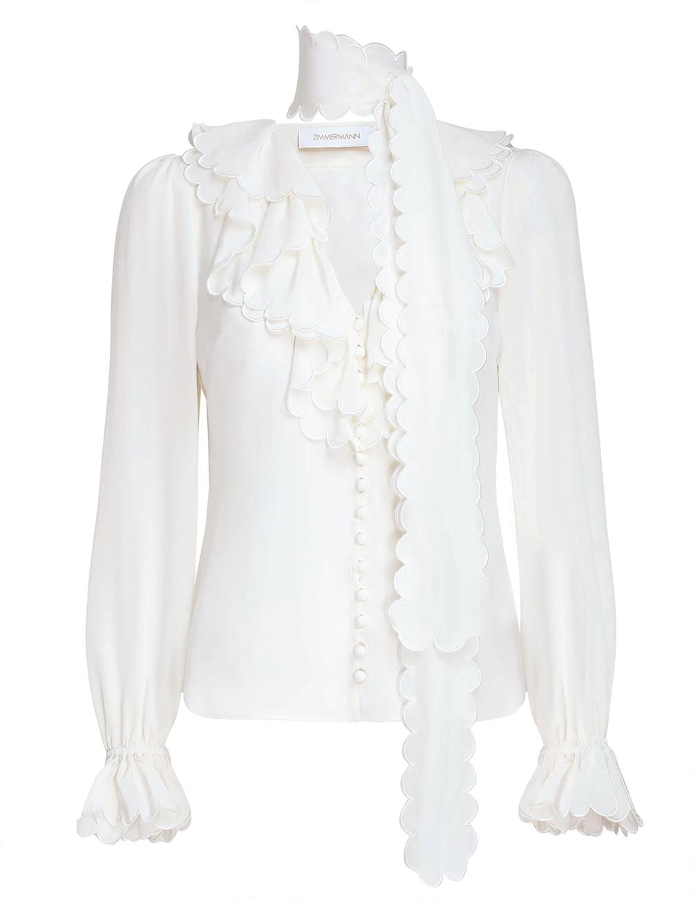 Silk Scallop Ruffle Shirt