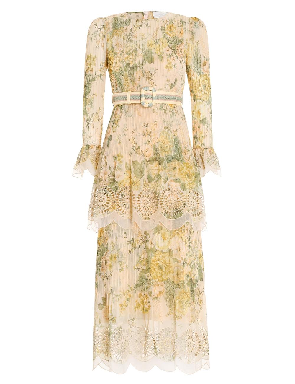 Amelie Pintuck Flounce Dress