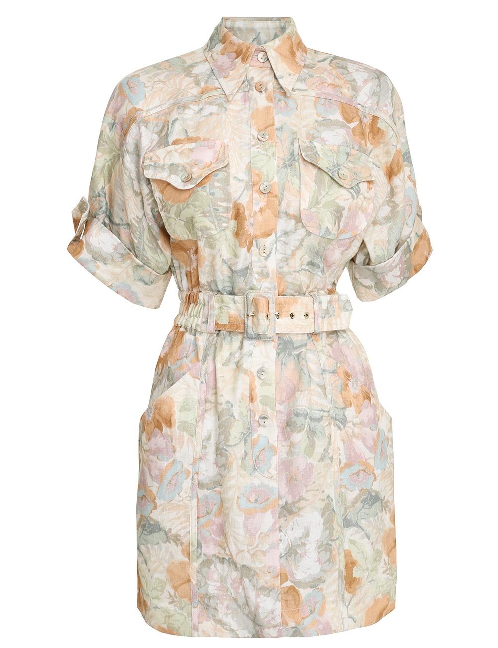 Glassy Belted Mini Dress