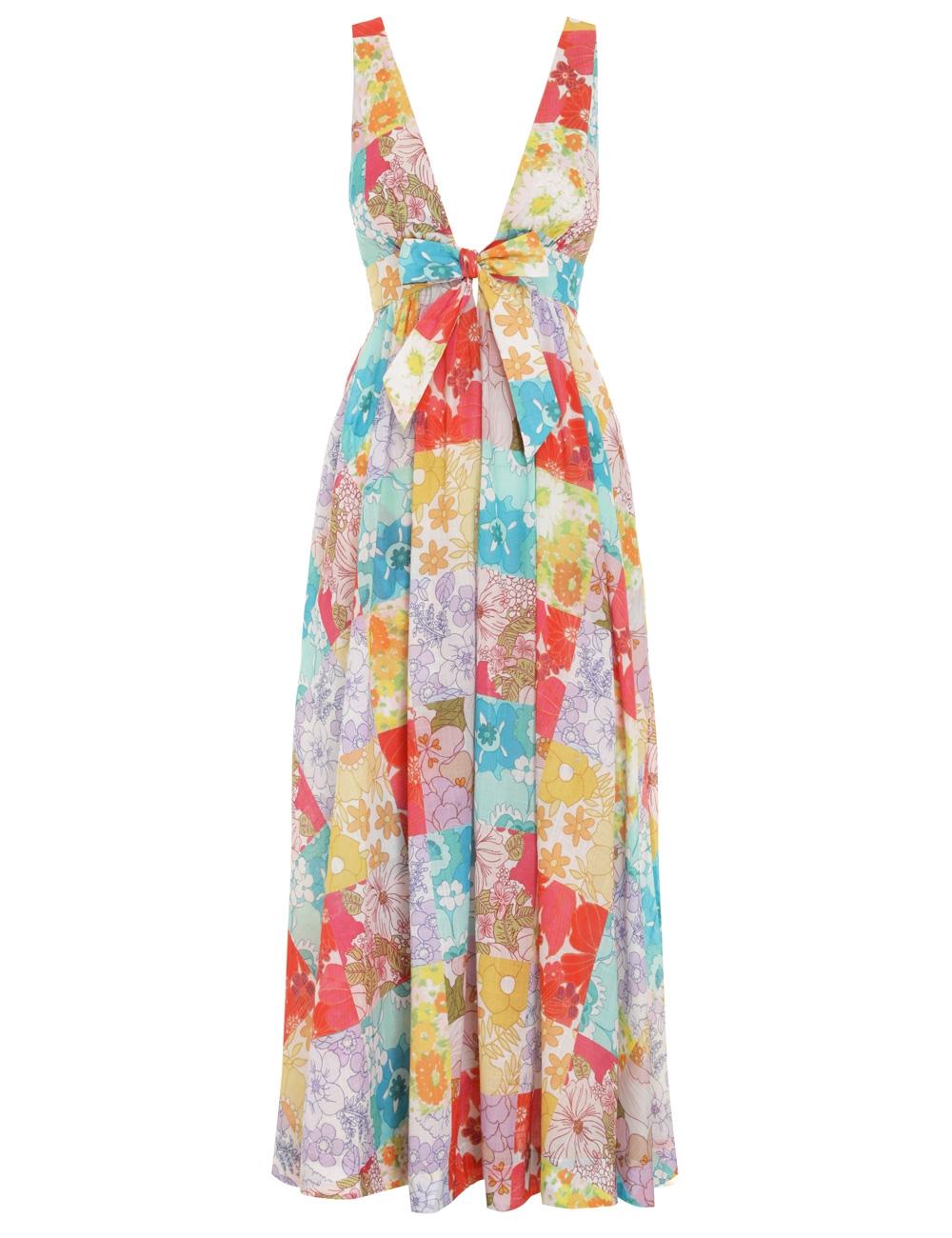 Bells Tie Front Long Dress