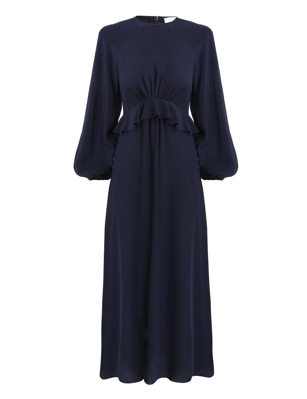 Silk Flounce Midi Dress