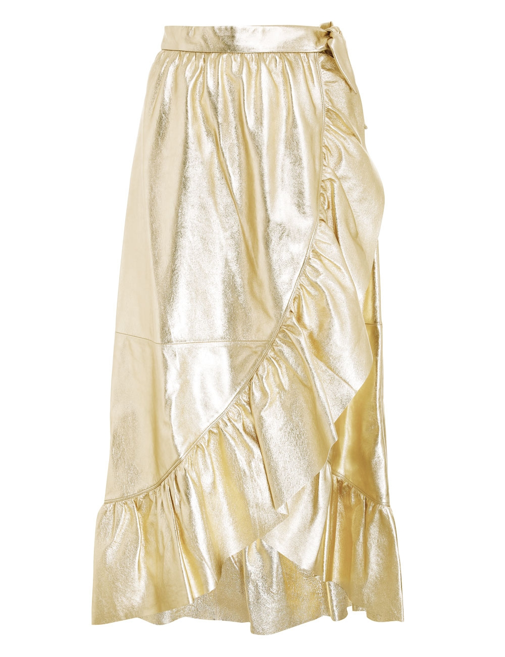 Ladybeetle Gold Leather Skirt