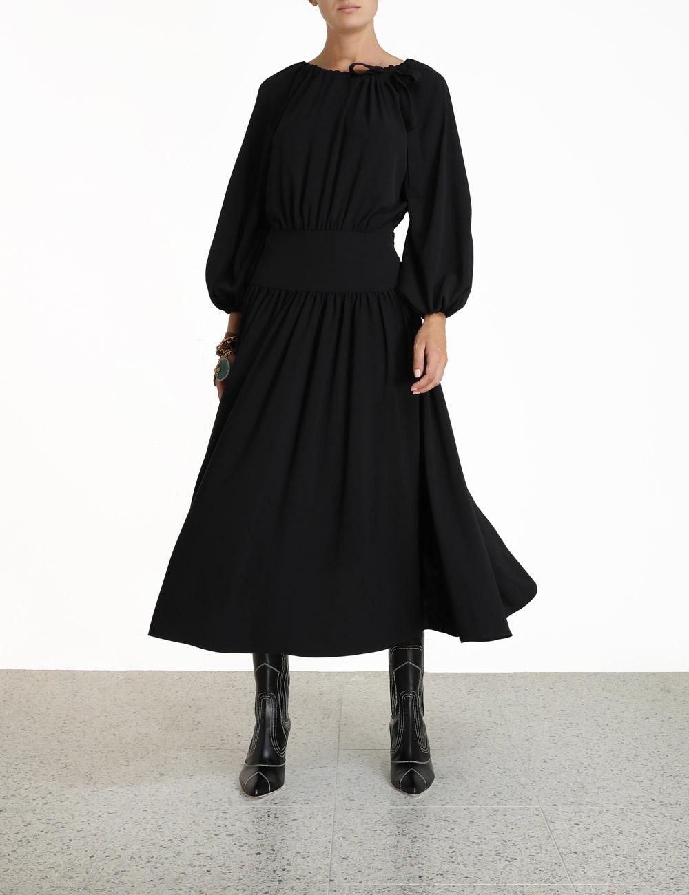 Tie Neck Midi Dress