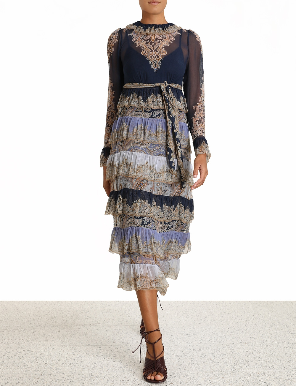 Luminous Paisley Tiered Midi