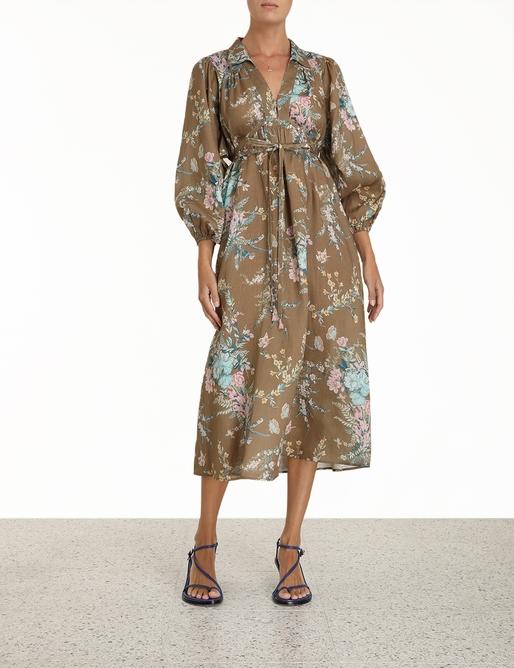 Cassia Wrap Tie Midi Dress