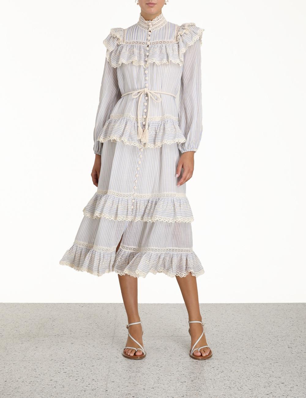 Aliane Lace Frill Midi Dress
