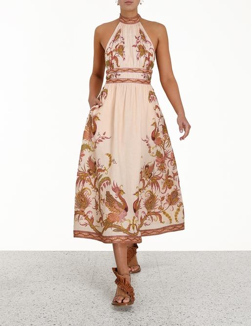 Cassia Halter Bow Midi Dress