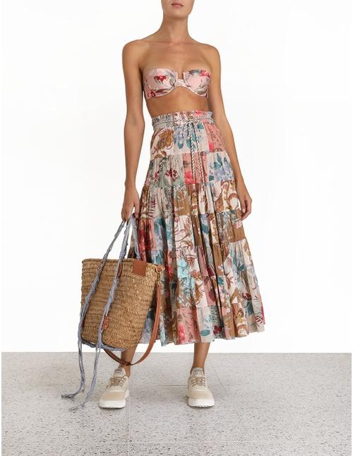 Cassia Patch Midi Skirt
