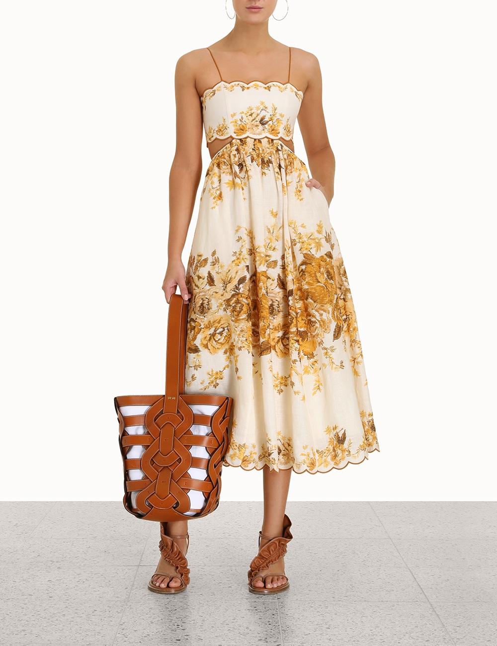 Aliane Scallop Midi Dress
