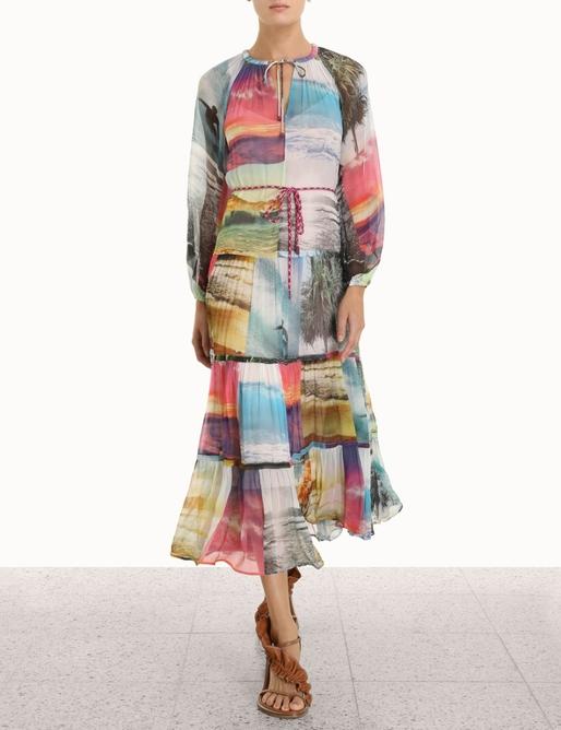 Shelly Tiered Tie Midi Dress
