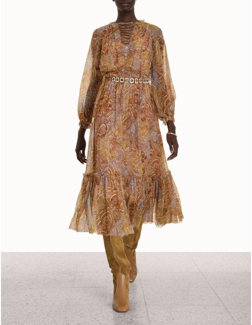 Concert Lace-Up Midi Dress
