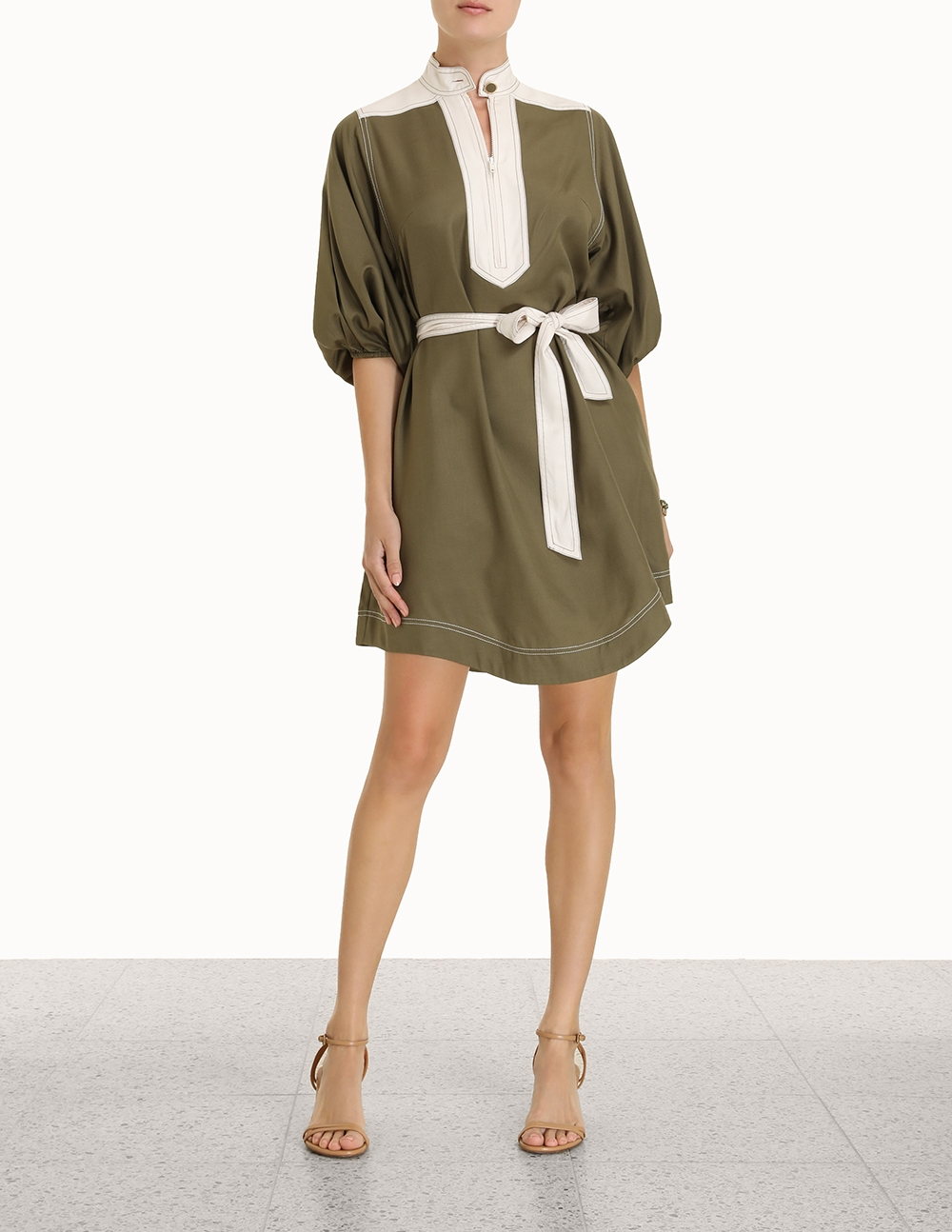 Silk Tie Mini Dress