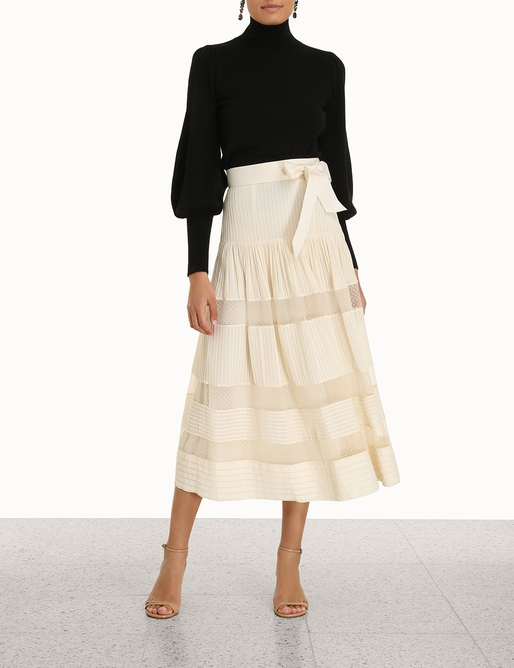Spliced Mesh Midi Skirt