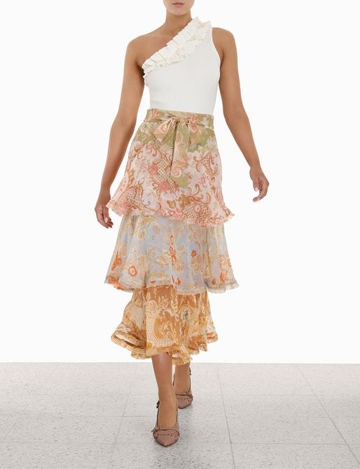 Postcard Flounce Midi Skirt