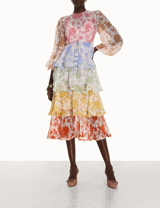 Postcard Flounce Midi Dress