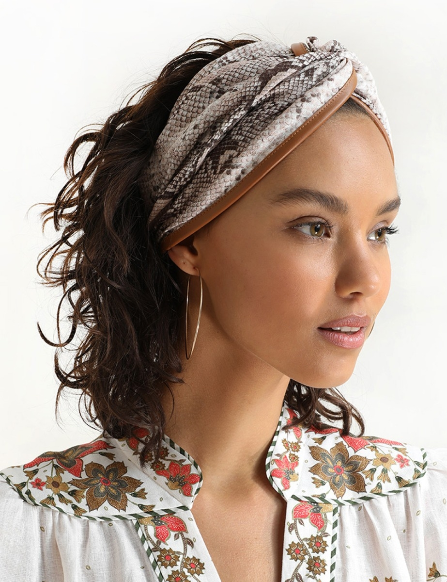 Leather Trim Headscarf