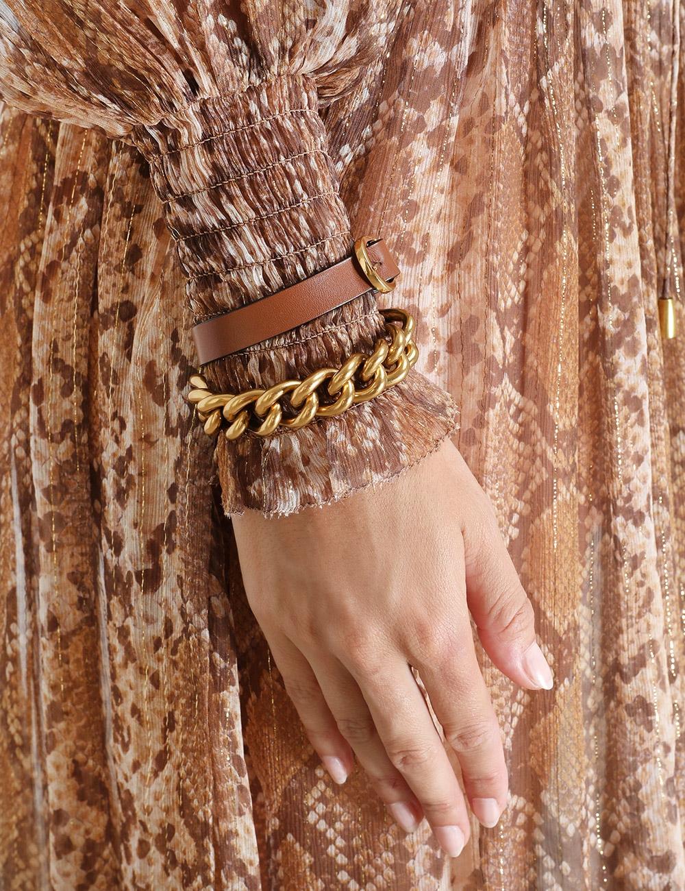 Chain Leather Wrap Bracelet