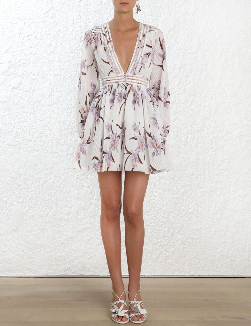Corsage Plisse Mini Dress