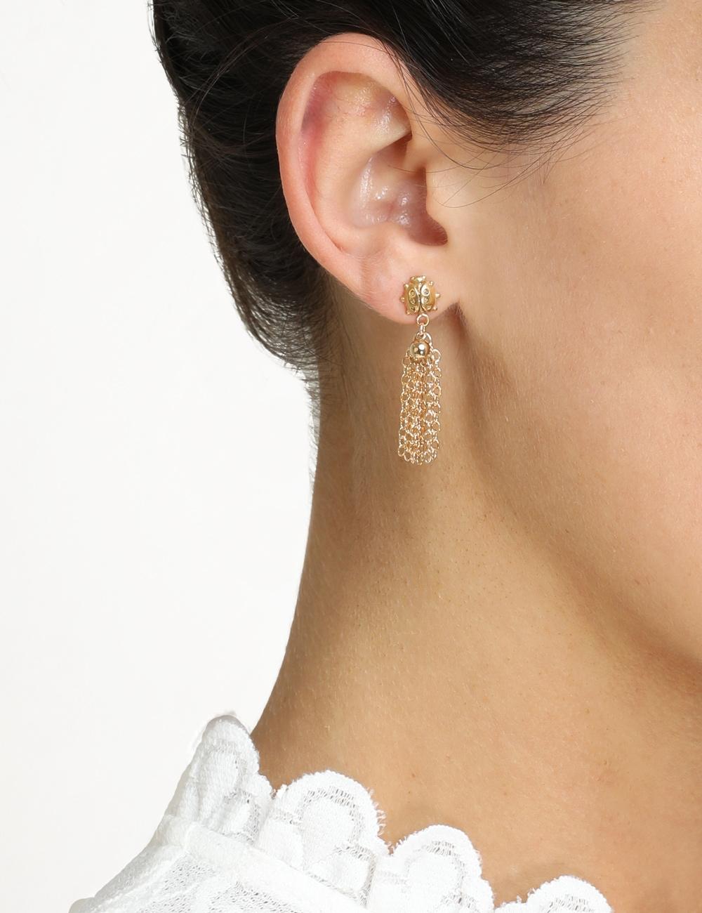 Ladybeetle Tassel Earrings