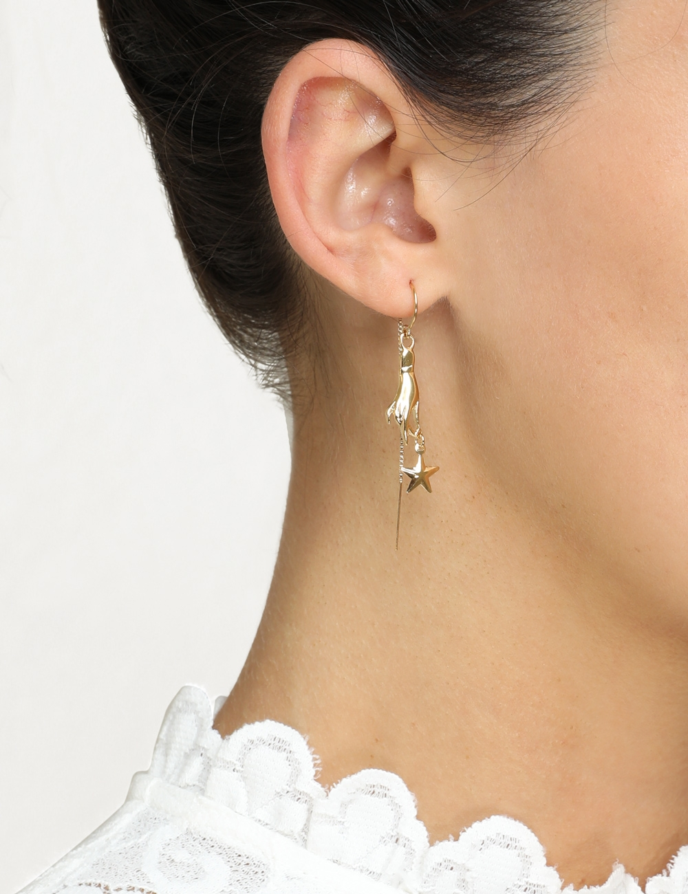 Hand & Star Drop Earrings