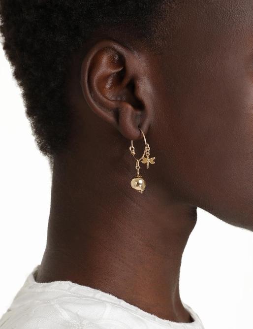 Ball Dragonfly Hoop Earrings