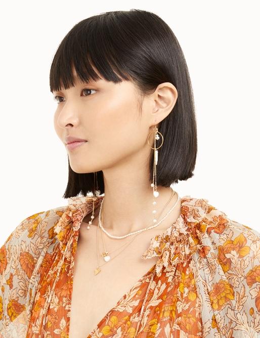Multi Pearl Long Earrings