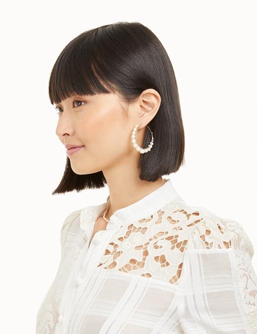 Wrap Pearl Hoop Earrings