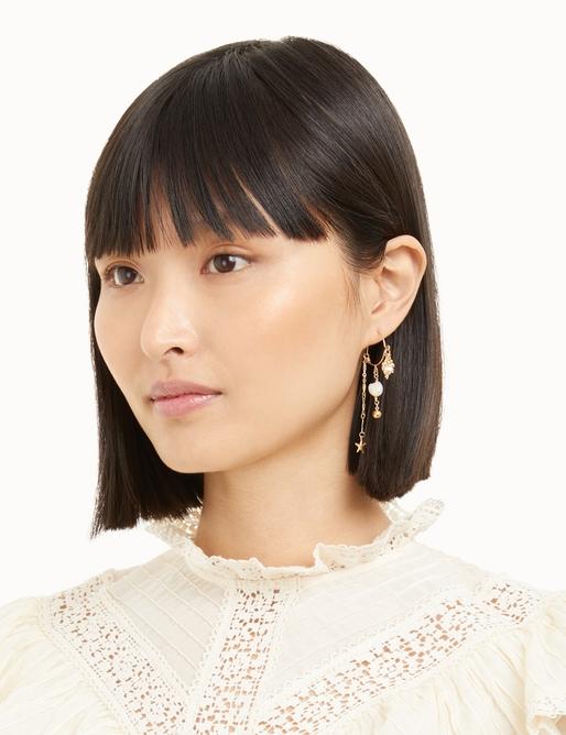 Shell and Pearl Hoop Earrings