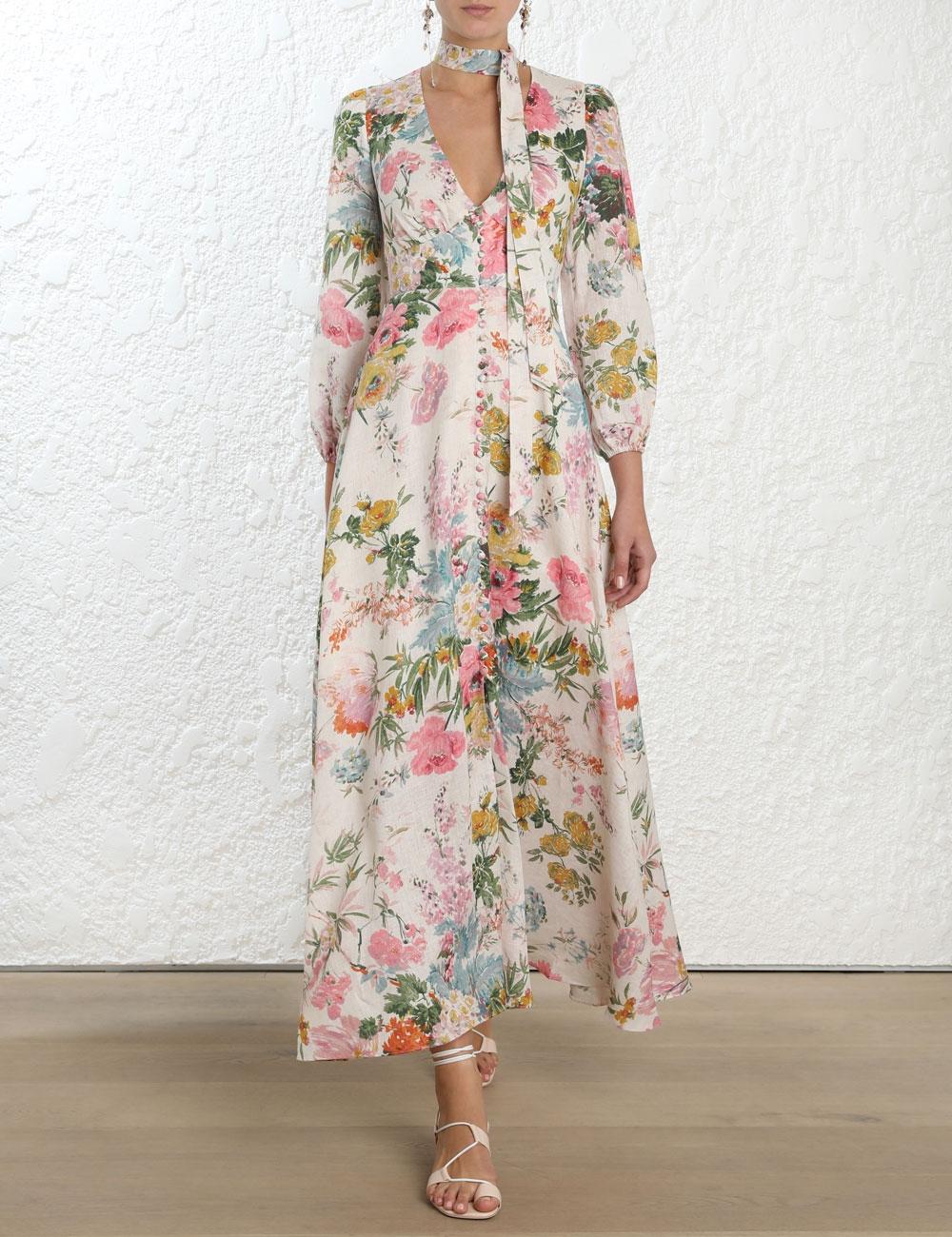 Heathers Plunge Long Dress