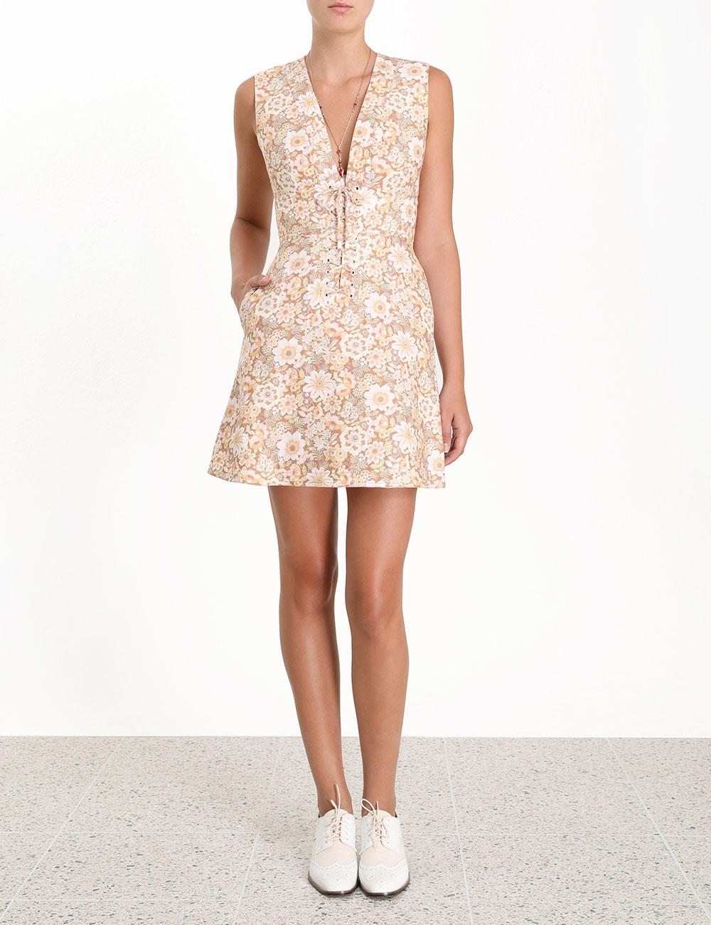 Zippy Lace Up Short Dress