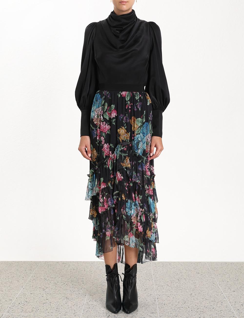 Ninety-Six Chevron Frill Skirt